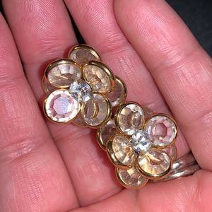 Clip On gold tone gem earrings, Vintage